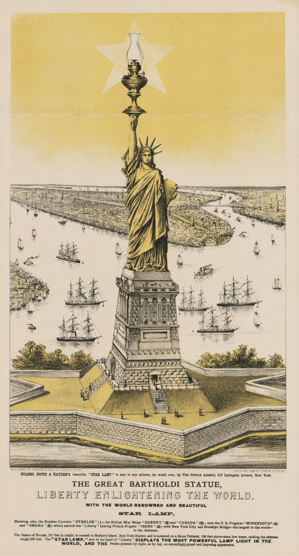Currier & Ives print of Lady Liberty.