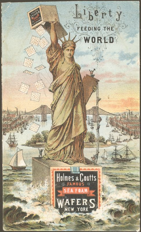 The Statue soon became a popular commercial image for promoting such products as Holmes & Coutts Famous Sea Form Wafers.