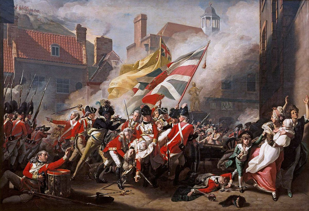 The heroic canvas depicts a passage in Britain's American War that falls outside the standard narrative of the American Revolution: a battle that took place in an obscure corner of Europe, that featured no North American combatants, and that ended in British victory.