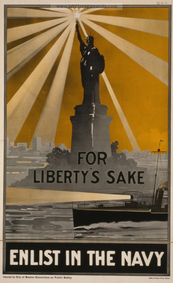 Navy recruitment poster in World War I featured a patrol boat passing in front of a prominent Lady Liberty, torch beaming across the sky.