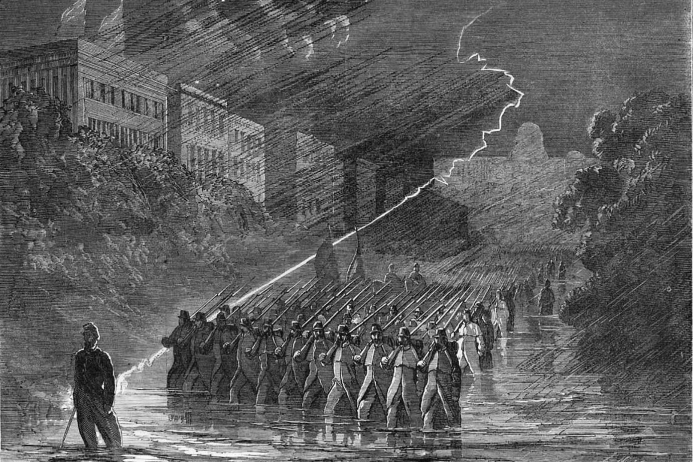 Julia Ward Howe and her group of Boston dignitaries visited with troops from the Massachusetts 14th Regiment, show in a Harper's Weekly engraving marching down Pennsylvania Avenue in a lightning storm.