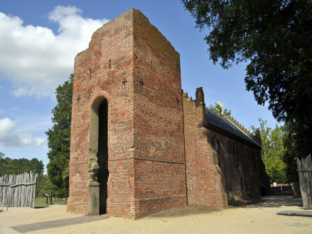 The first democratic charter in North America was voted into effect in the church at Jamestown in 1619. Visitors today can see a church rebuilt in 1907 along the same lines, with the tower of the church built on the site in 1639, one of the oldest built structures existing in North America.