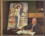 Franklin Roosevelt signs a proclamation declaring the first Bill of Rights Day. Library of Congress.