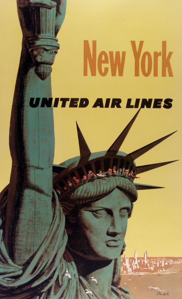 "Artist Stan Galli create a ""Jet Age"" tourism poster of the Statue of Liberty for United Airlines in 1960."