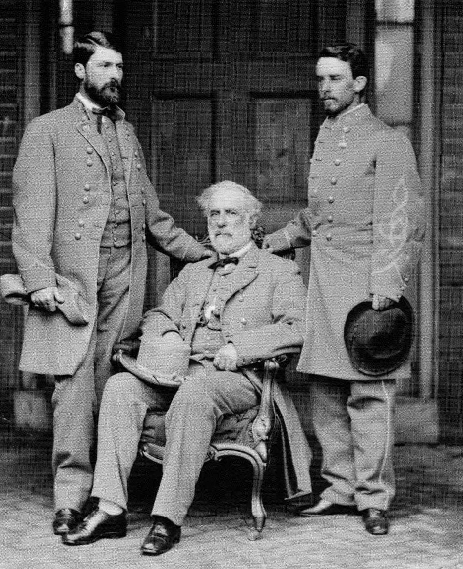 During the war Lee's eldest son, George Washington Custis Lee (above, at left, with his father and Col. Walter Taylor) rose to the rank of Major General, serving most of the war as aide to Confederate President, Jefferson Davis, in Richmond, a position that enabled him to look after the family.