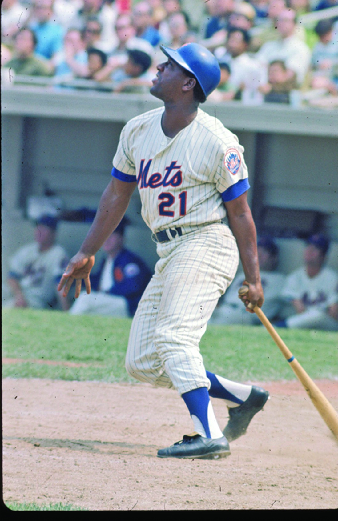 New York Mets' Cleon Jones reacts after making contact with the ball during the 1969 World Series. Photo Courtesy of Mets Insider