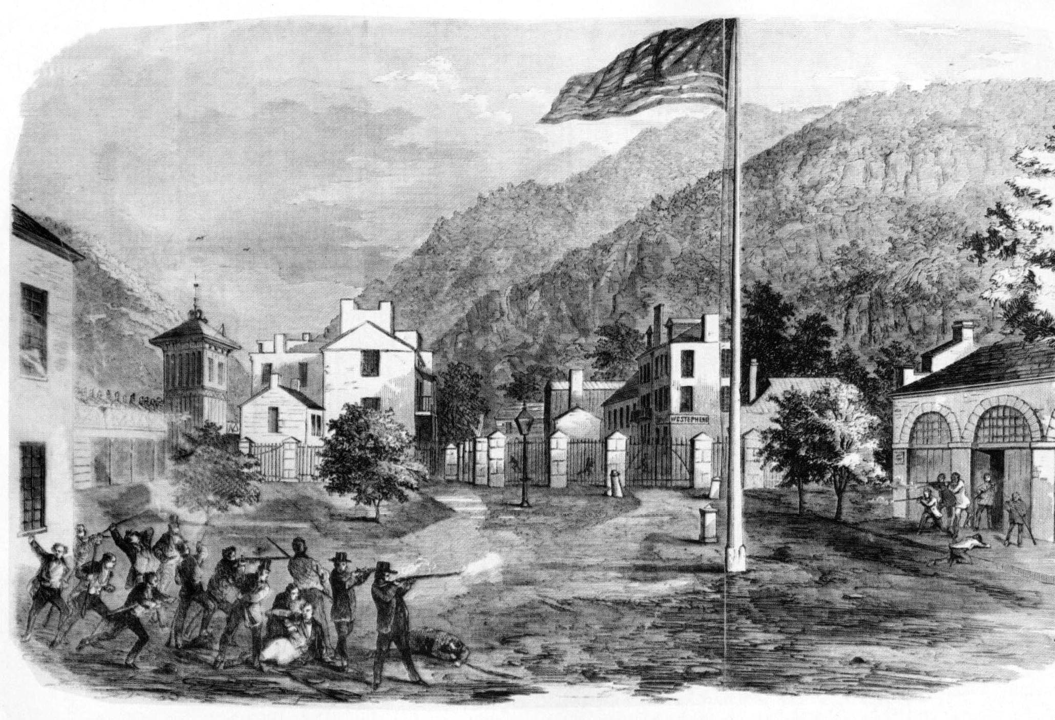 In October 1859, Secretary of War John B. Floyd ordered Lee to Harper's Ferry, West Virginia (above), with several companies of artillery and a detachment of marines to quell a bloody insurrection masterminded by abolitionist John Brown.