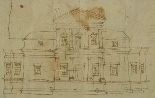 Jefferson drew his first known drawing of Monticello in 1769-1770. The design and its siting paid homage to the Italian architect Palladio. Jefferson would continue to work on the home for the rest of his life. Ink on paper. Courtesy of Thomas Jefferson Foundation.