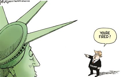 Trump utters his famous line to Lady Liberty and her huddled masses.
