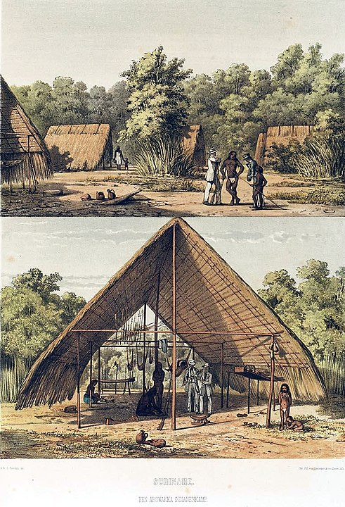 An Awarak village in the early 1800s.