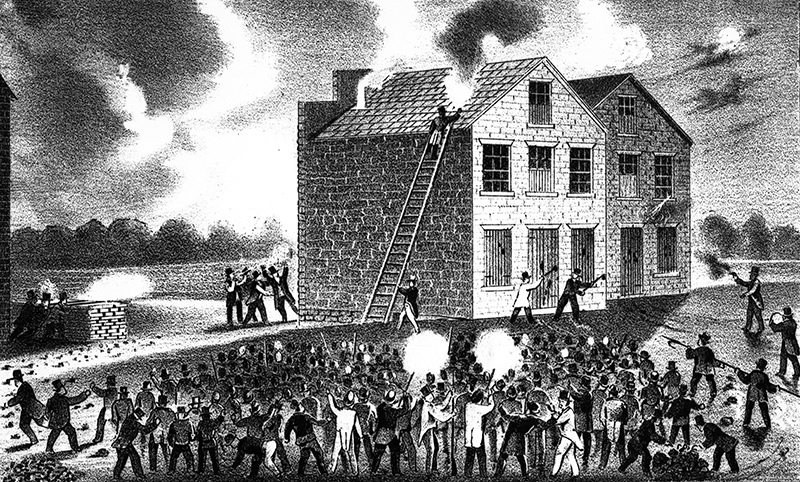 The mob attacking the warehouse of Godfrey Gilman & Co., Alton, Ill., on the night of the 7th of November, 1837, at the time Lovejoy was murdered and his press destroyed.