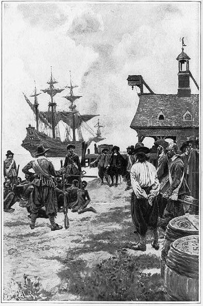Howard Pyle illustrated the sale of the first Africans in the New World at Jamestown in 1619.