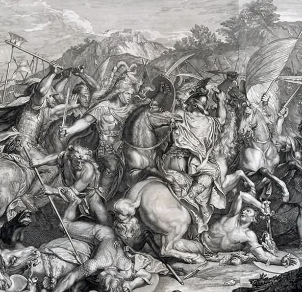 Washington read books by and about military leaders such as Caesar and Alexander the Great. His collection of prints included a 1720 engraving of Alexander (center) in the thick of the battle of Granicus River.  Detail, Mount Vernon.