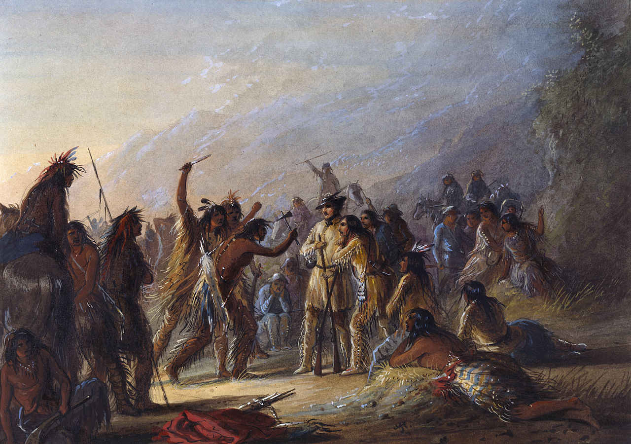 In a painting by Alfred Jacob Miller, Stewart stands his ground against Crow Indians. The Walters Art Museum.