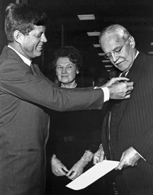 Pres. Kennedy asked for the resignation of CIA Director Dulles after the Bay of Pigs failure, but awarded him the National Security Medal on November 28, 1963 at Langley.