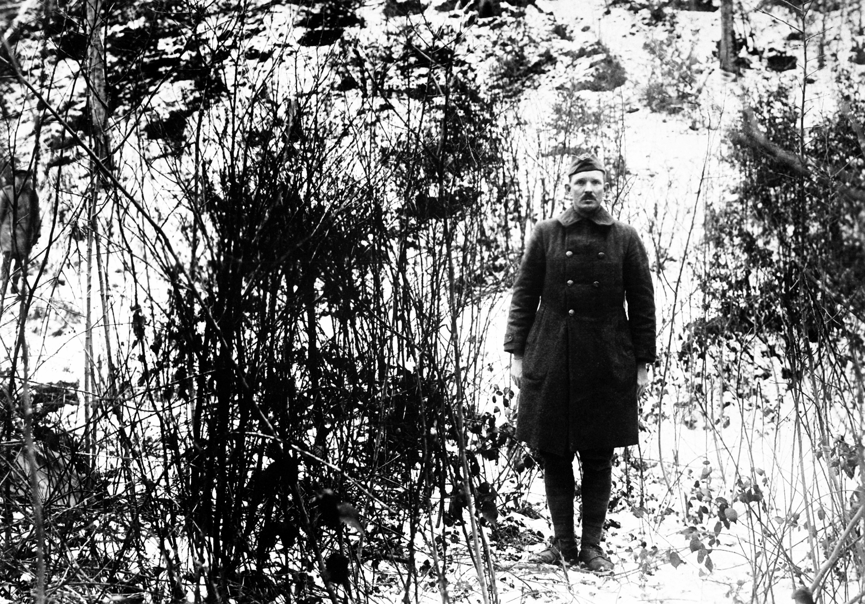 Sgt. Alvin York stands on the hill on which his heroic actions took place.