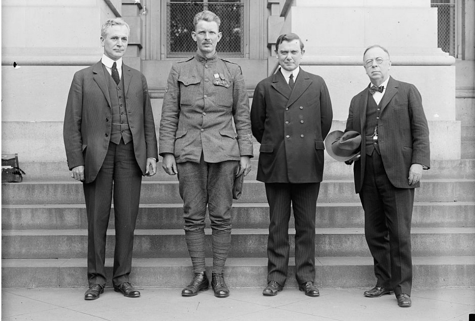 Sgt. York was feted with a parade in New York and meetings with Congress. Above, he poses with Rep. Representative Cordell Hull, Sergeant Alvin C. York, Senator Kenneth McKellar, and Senator George E. Chamberlain