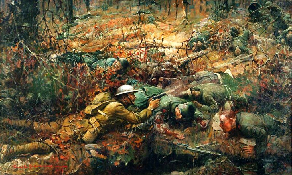 American illustrator Frank Schoonover painted Sgt. York's attack in 1919. Photo courtesy of Allan Jones.