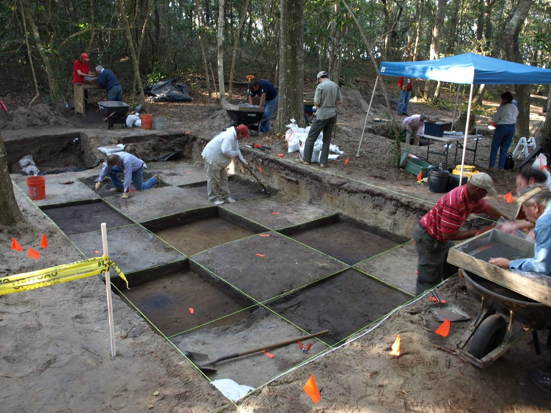 First Colony Foundation archaeologists excavate at Fort Raleigh National Historic Site on Roanoke Island.