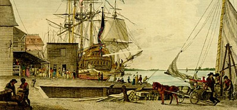 The first cases in the in Philadelphia yellow fever epidemic of 1793 were identified at the Arch Street wharf near Water Street, shown in an 1800 engraving by William Birch.