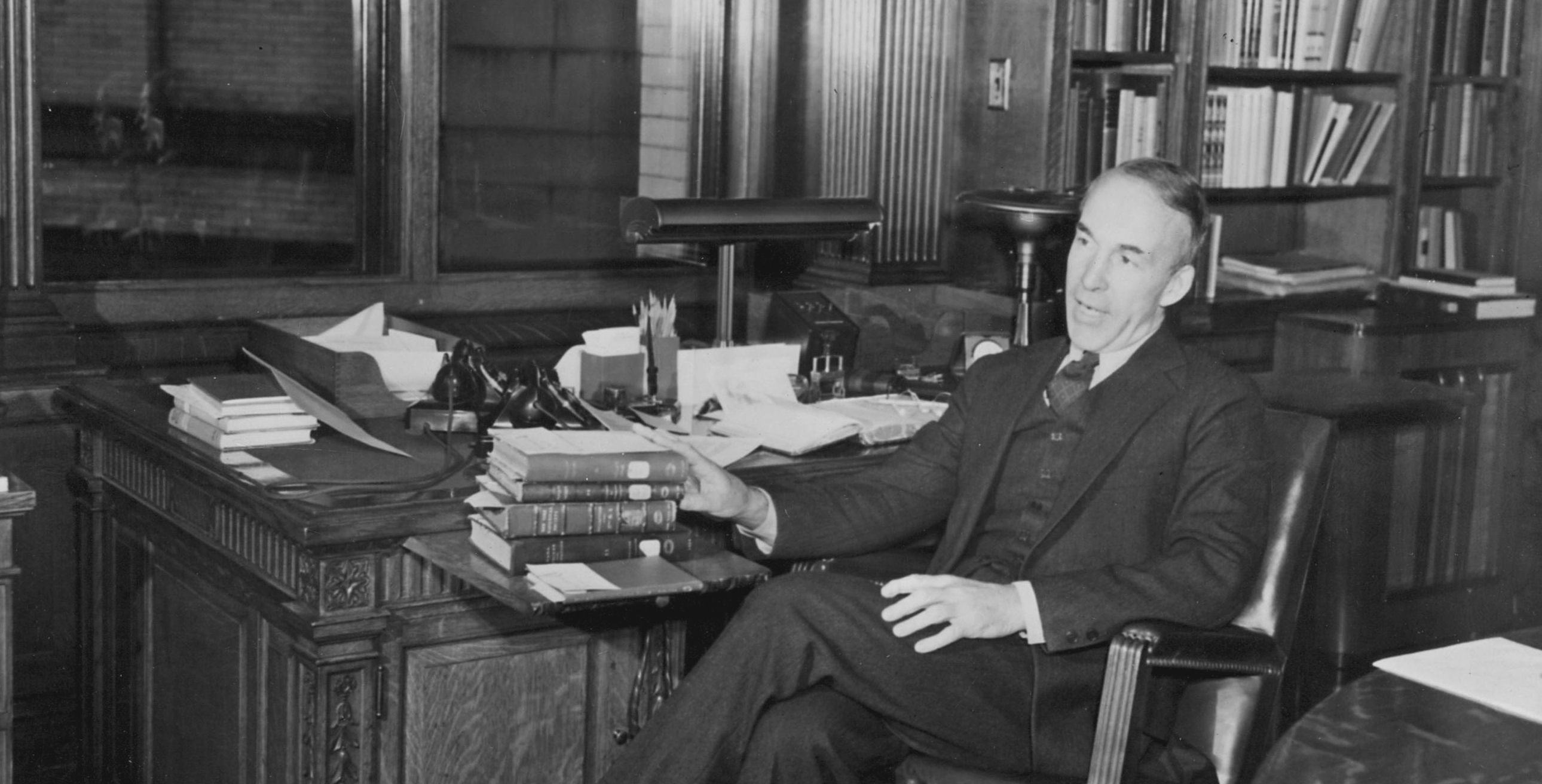 "FDR tapped Archibald MacLeish to be Librarian of Congress. The famed poet teamed up with ""Wild Bill"" Donovan, head of the OSS, to create an operation to collect information on Nazi activities in Europe. Library of Congress."