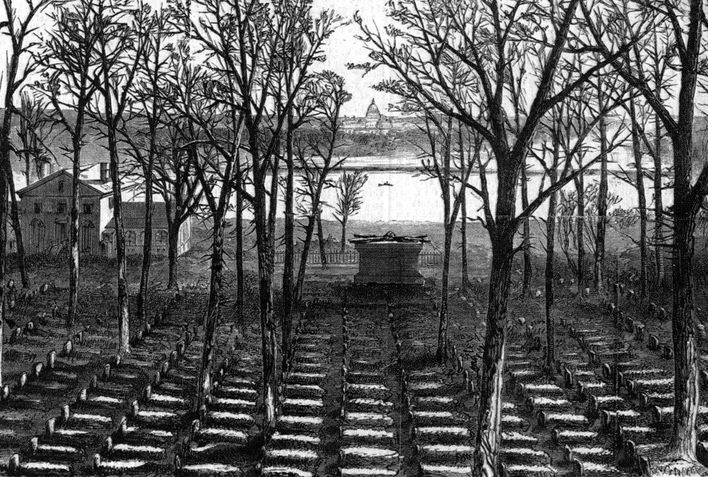 Partially in anger against his former friend's decision to fight for the South, Quartermaster General Montgomery C. Meigs ordered thousands of Union dead buried at Arlington House, personally selecting the site behind Mrs. Custis's gardens for a mass grave of unknown soldiers (above).