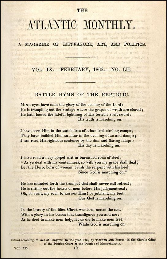 "Julia Ward Howe wrote the ""Battle Hymn"" in the middle of the night after witnessing skirmishes during the Civil War."