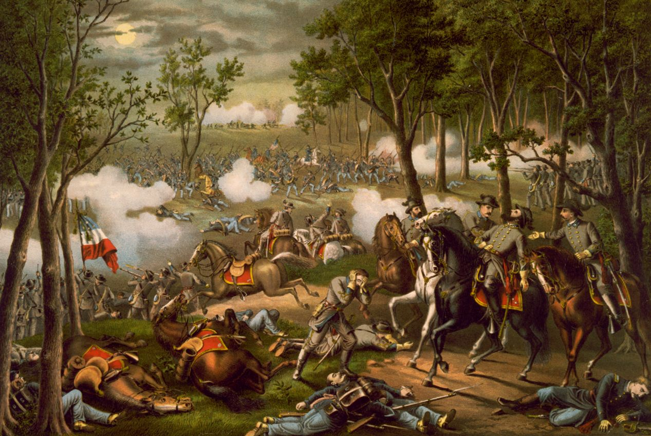 Holmes was wounded a fourth time at Chancellorsville, a bloody Civil War battle with 30,000 casualties. A somewhat fanciful engraving of the battle by Kurz and Allison depicts the fatal wounding of Confederate Gen. Stonewall Jackson on May 2, 1863.