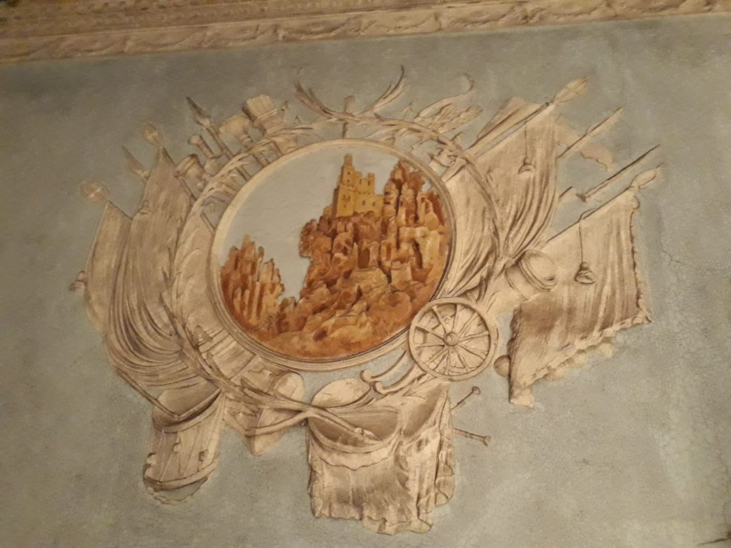 Belcamp Hall is beautifully decorated inside with plasterwork, reliefs and murals typical of the time.
