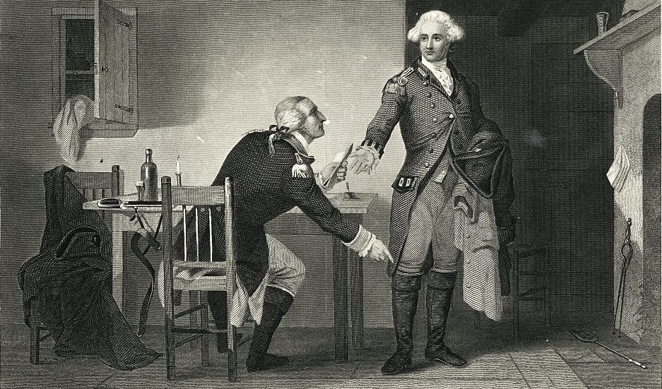 Benedict Arnold (left) hands the drawings of West Point to Major Andre, British spy and aide to Gen. Clinton.