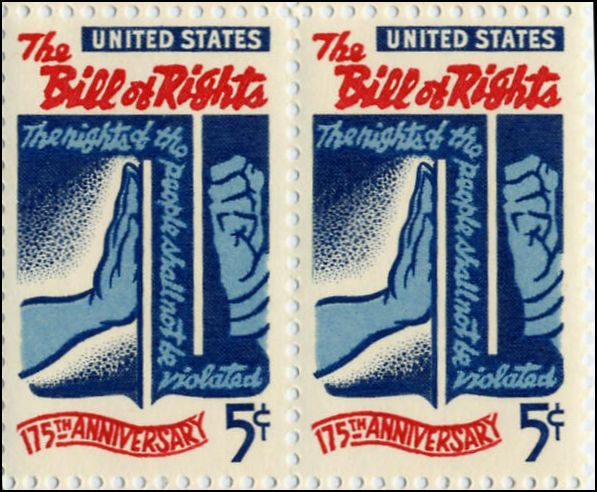 The U.S. Postal Service issued a stamp to honor the commemoration of the Bill of Rights.
