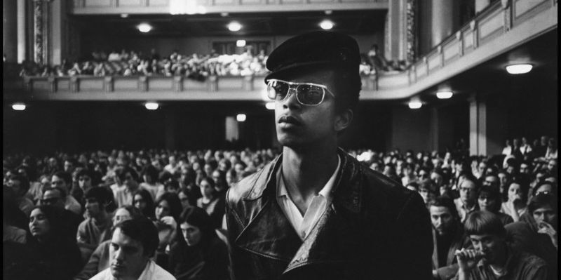 In the days before the trial was scheduled to start, a Black Panther addressed students in Woolsey Hall on the campus. Yale Library.