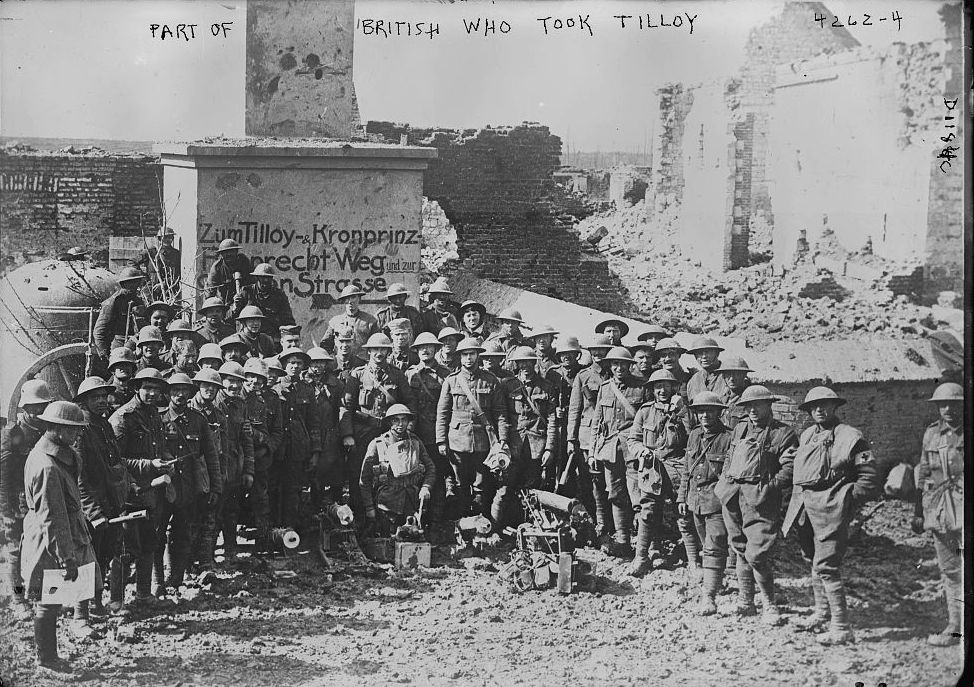 British soldiers who helped take Tilloy, France, in World War I. Library of Congress.