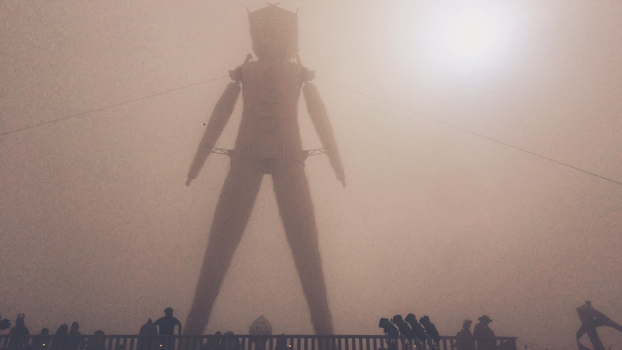 The iconic Burning Man stands over the festival. Photo by Kevin Cheng