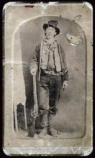 A recently discovered carte-de-viste made in 1881 shortly his death has been authenticated as showing Billy the Kid holding his Model 1873 Winchester rifle.
