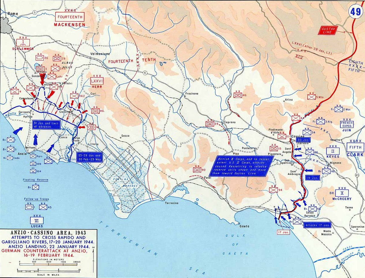 Early in 1943 the Allies landed at Anzio, well north of the Gustav Line where the Germans were blocking the Allied push north. But they were surrounded for months until breaking through as the Normandy invasion was beginning.