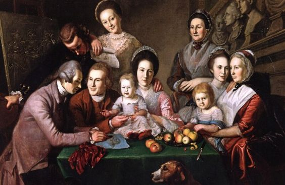 Charles Willson Peale painted his family at the dinner table in 1773. New York Historical Society.