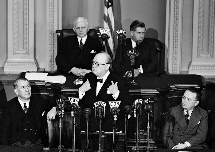 Churchill speaks to the U.S. Congress on December 26, 1941.