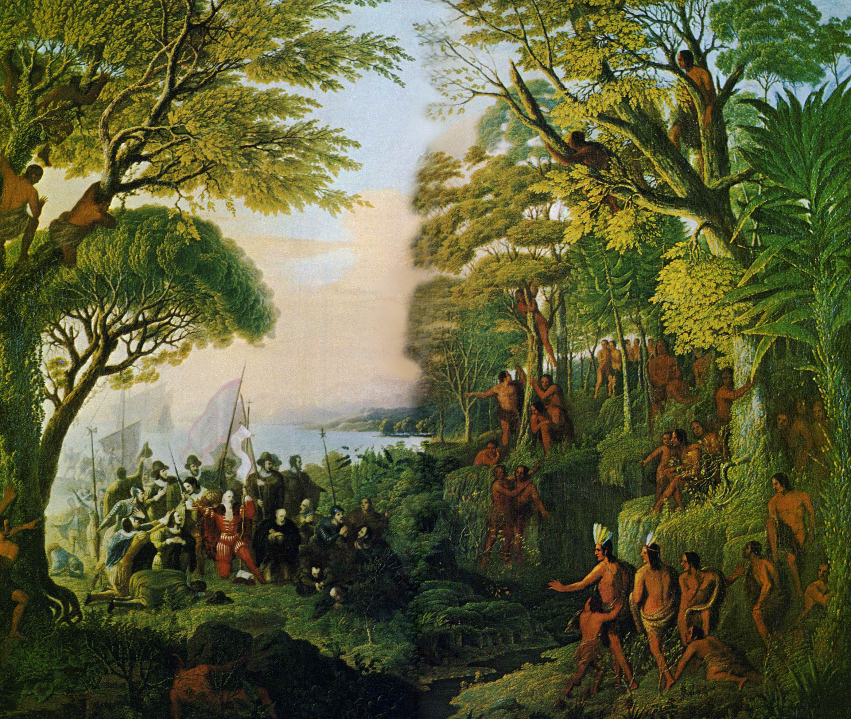 "Paul Kane's ""Columbus Discovering America,"" painted in the 1830s, depicts Indians amidst the trees, greeting the discover upon his landing at San Salvador. Painting from Northern Natural Gas Company Collection, Joslyn Art Museum"