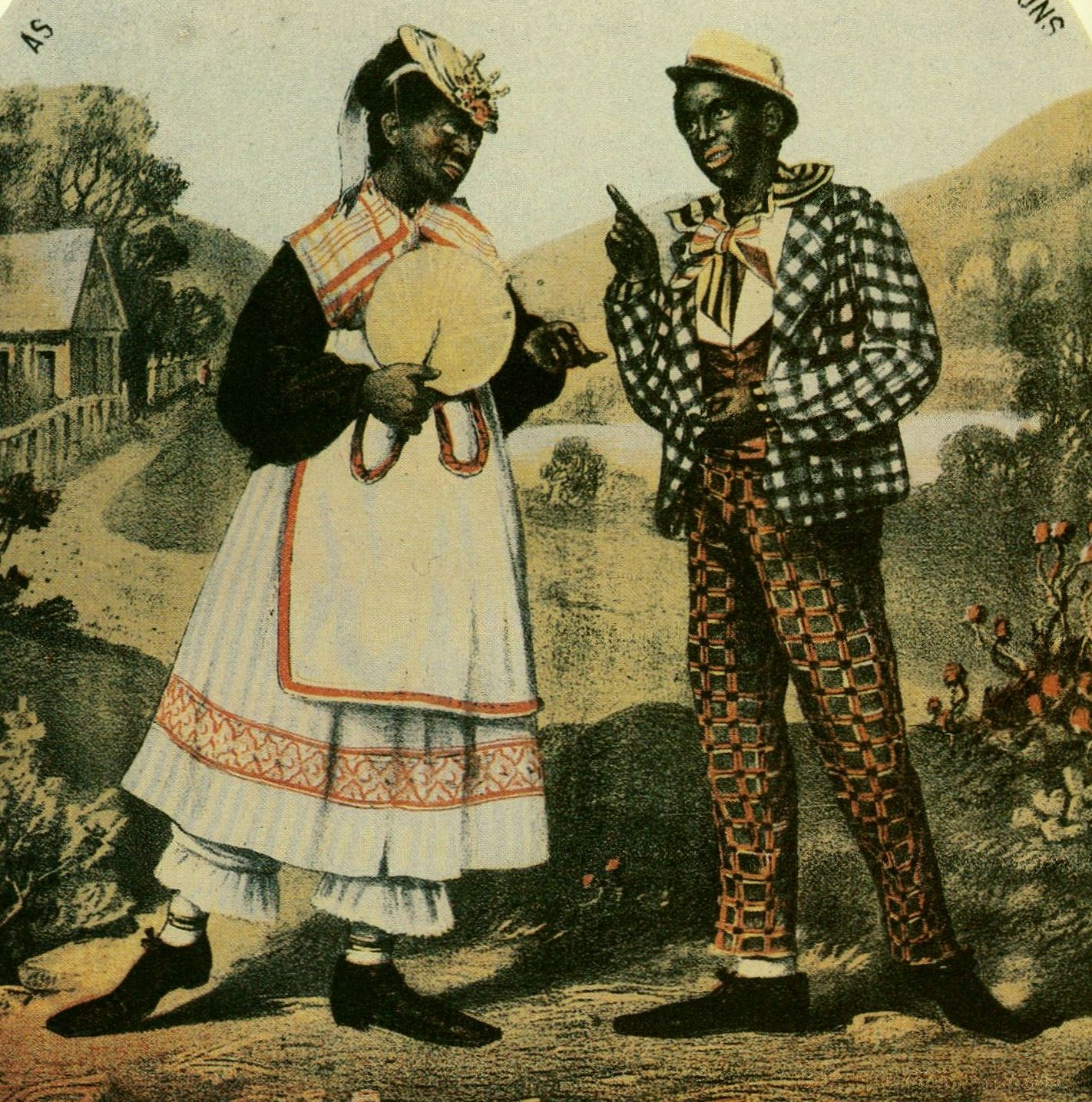 The courting couple was another minstrel staple, with the girl typically played by a man. Such lovers were usually lampooned less savagely than the dandy, since their carefree plantation world represented little threat to city audiences.