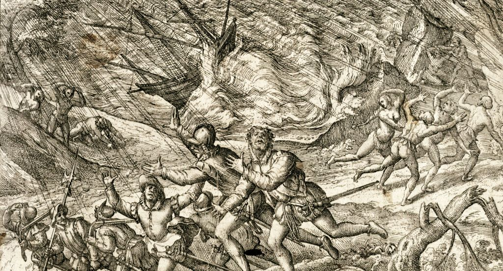 "Europeans sailing to the New World quickly discovered the terror of hurricanes, as depicted in 1594 by famed engraver Theodor De Bry in ""A terrible and incredible storm."" University of Houston Libraries."