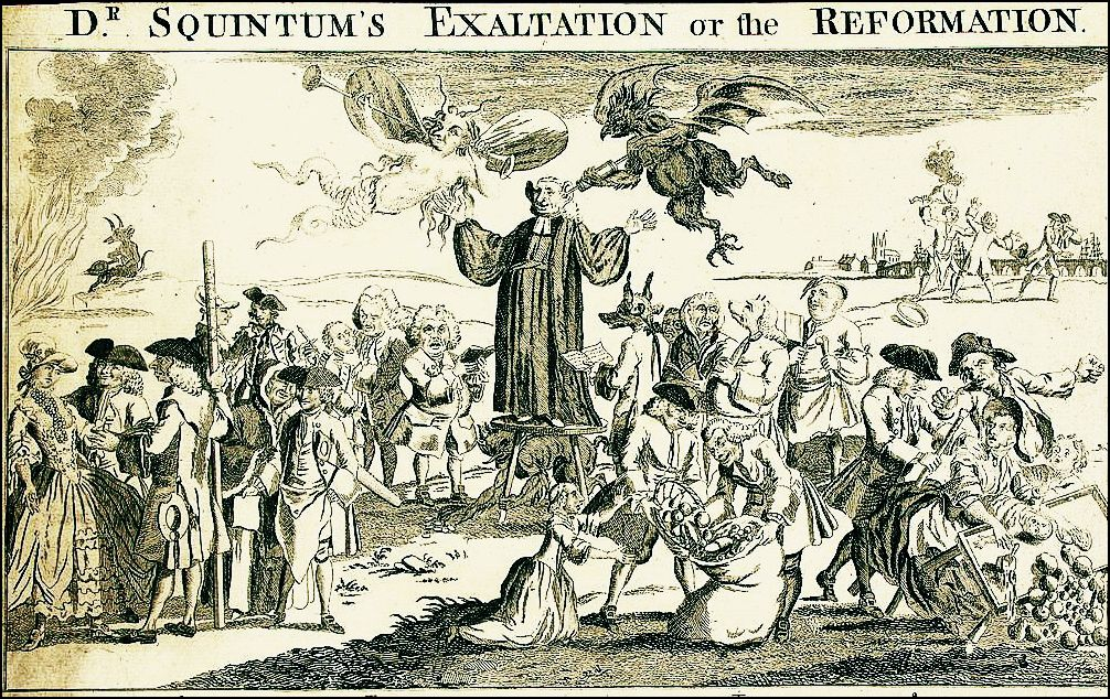 "Traditional believers accused evangelicals of distorting the gospel in terms that still echo today. An 18th Century cartoon of Rev. George Whitefield shows an imp pouring inspiration into the preacher's ear while an evil female spirit listens on the other side and the Devil rakes in money below the podium. The wild accusation was that, like revivalists today, ""Dr. Squintum"" was interested in sex and money. (Library of Congress)"