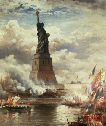Thomas Moran created a dramatic painting of the inauguration of Liberty Enlightening the World in 1886.