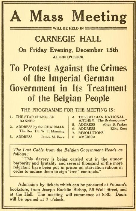 Meetings were organized around the U.S. to protest the German treatment of the Belgians.