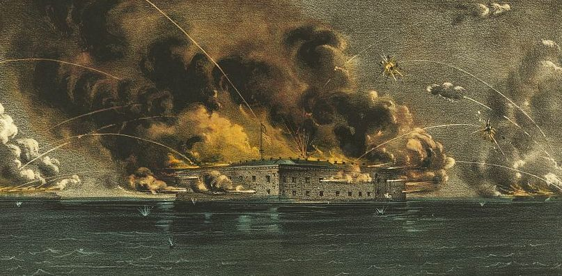 Thanks to Lincoln's maneuvering, when South Carolina forces fired on Sumter on April 12, 1861, most of the nation saw them as the aggressors. Hand-colored print by Currier & Ives. Library of Congress.