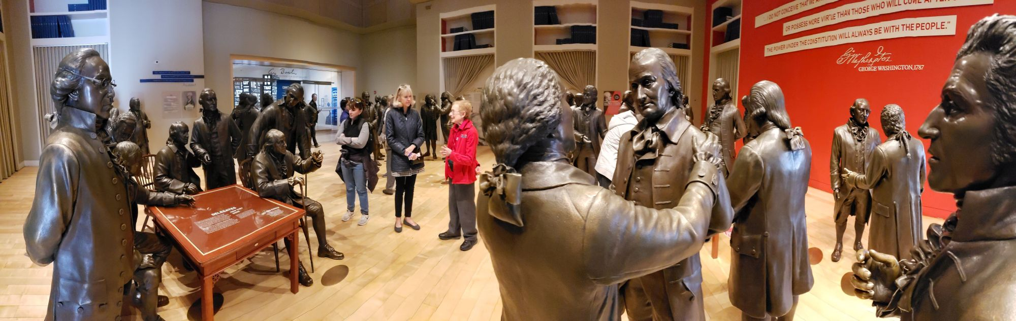 Visitors can walk among lifesize statues of the men who attended the Constitutional Convention at the National Center for the Constitution. Photo: Edwin Grosvenor.