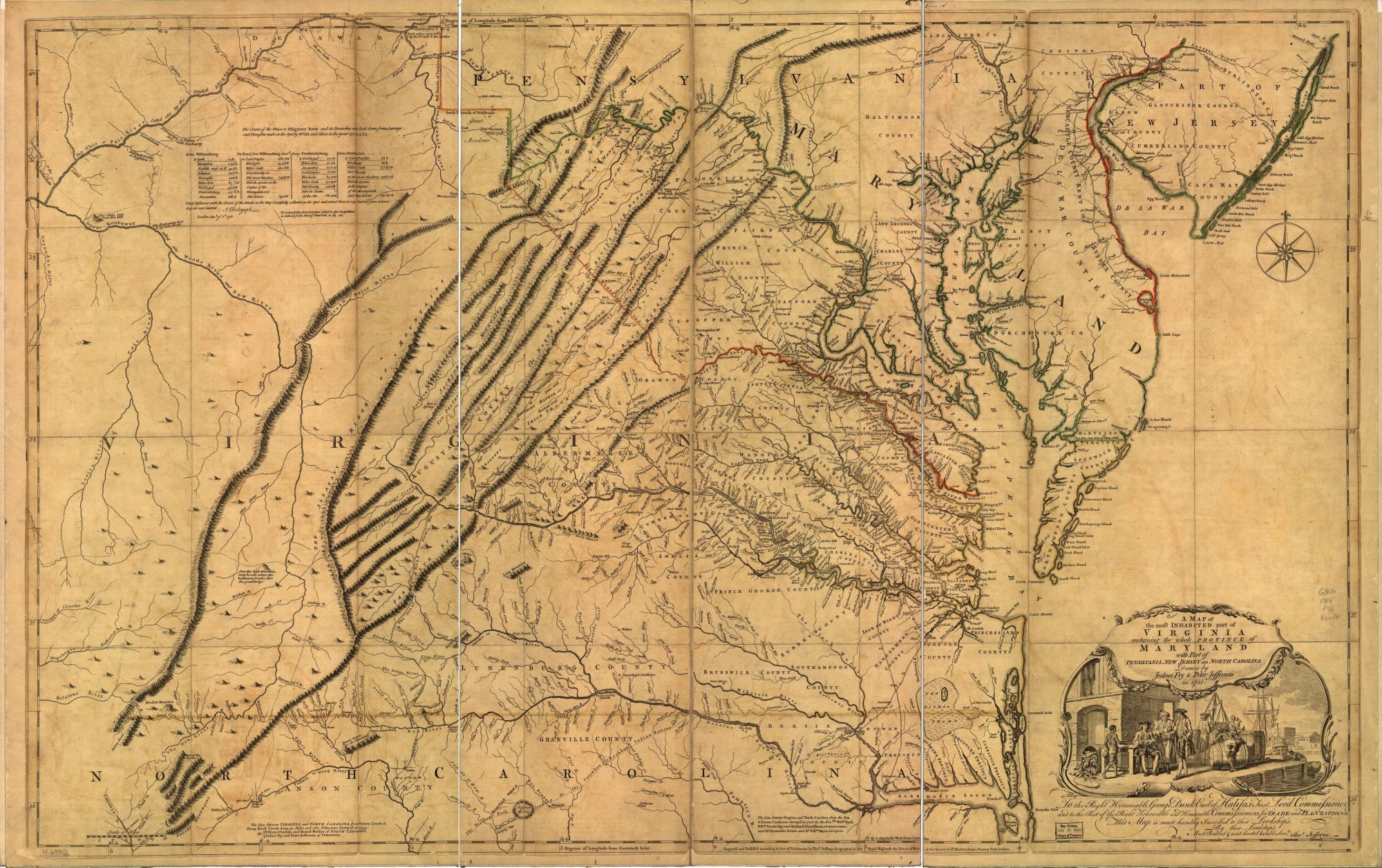 The researchers were stunned when the Duke handed them a map of Virginia from 1751. They instantly realized it was one of only three copies in existence of the most famous map of Virigina, surveyed and drawn by Roger Fry and Peter Jefferson, the father of Thomas Jefferson. A later edition of the map (above) is held by the Library of Congress.