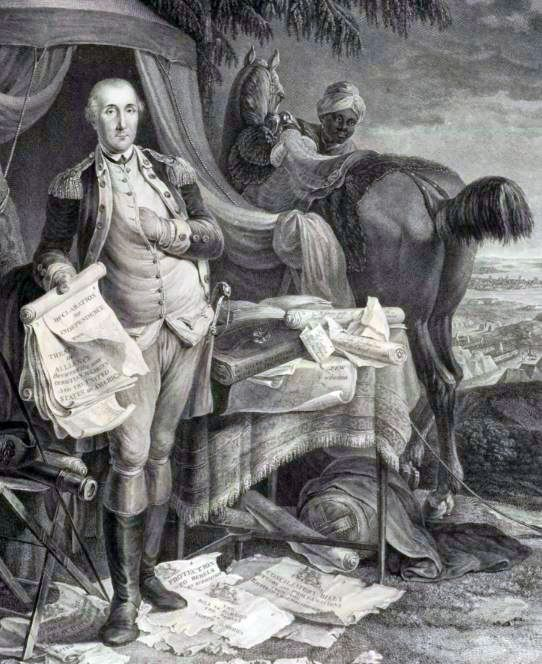 A French engraving of General George Washington shows him with books on the table by his tent.
