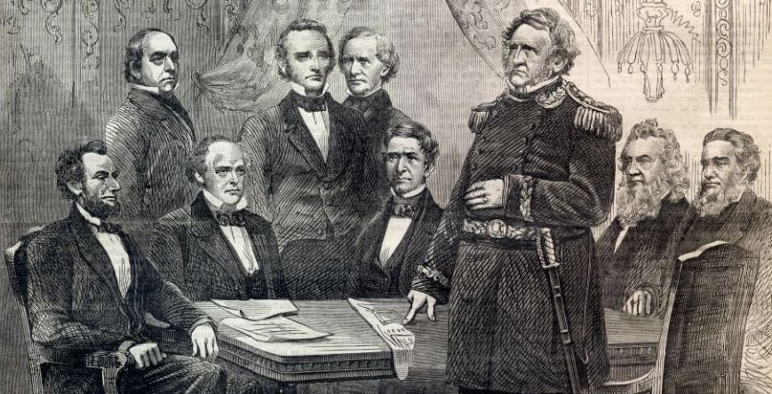 Gen. Winfield Scott urged the Cabinet to surrender Fort Sumter. Only Postmaster General Montgomery Blair (fourth from left) supported Lincoln's decision to stand firm in the face of secession threats.