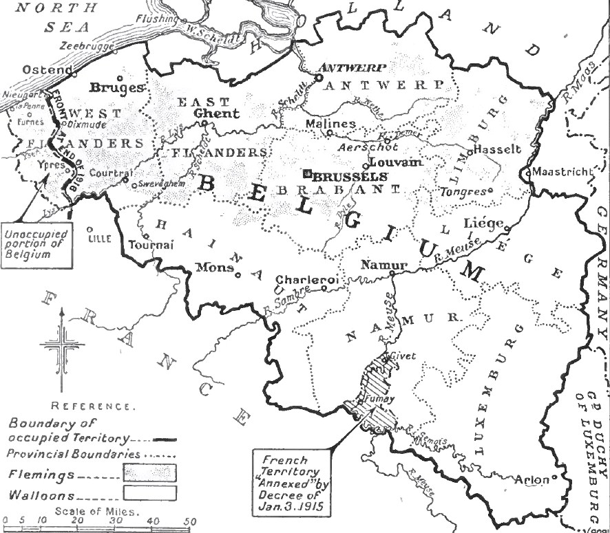 Most of Belgium was occupied by the Germans after August 1914.